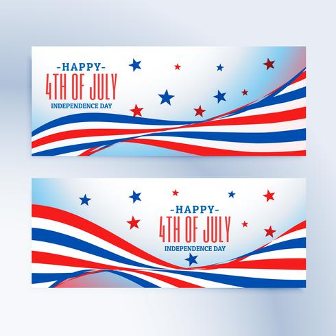 4th of july banners set