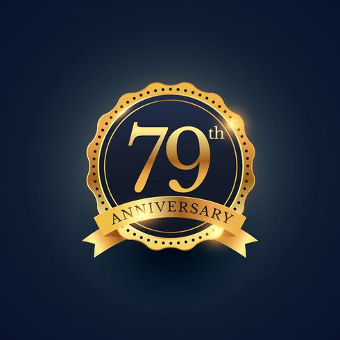 79th anniversary celebration badge label in golden color