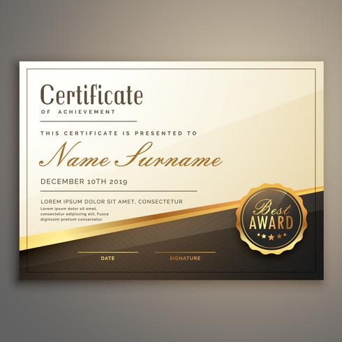 Premium-Zertifikatvorlage Design Vektor