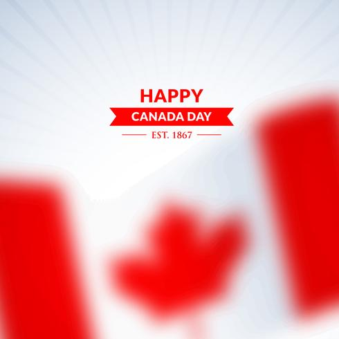 happy canada day background with blurred flag