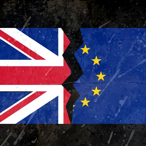 uk and eu broken flag concept