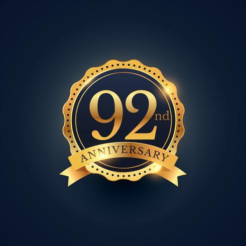 92nd anniversary celebration badge label in golden color