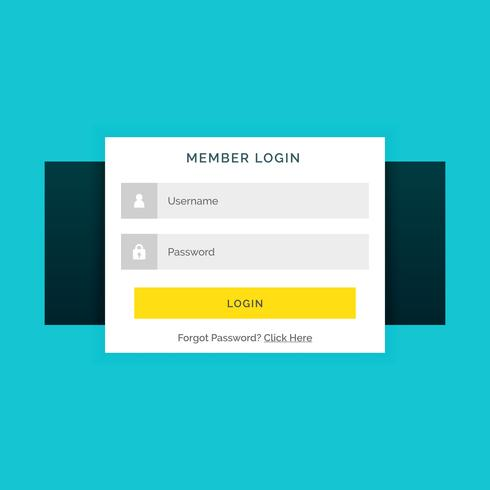 white member login form on blue background in flat style