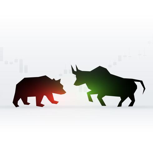 concept design of bear and bull in front of each other showing l