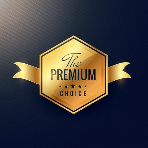 """the premium choice"" golden label with ribbon"