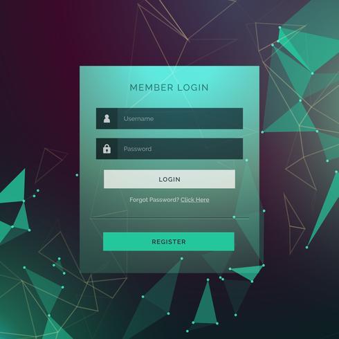design de formulário criativo login ui modelo com estilo de tecnologia bac