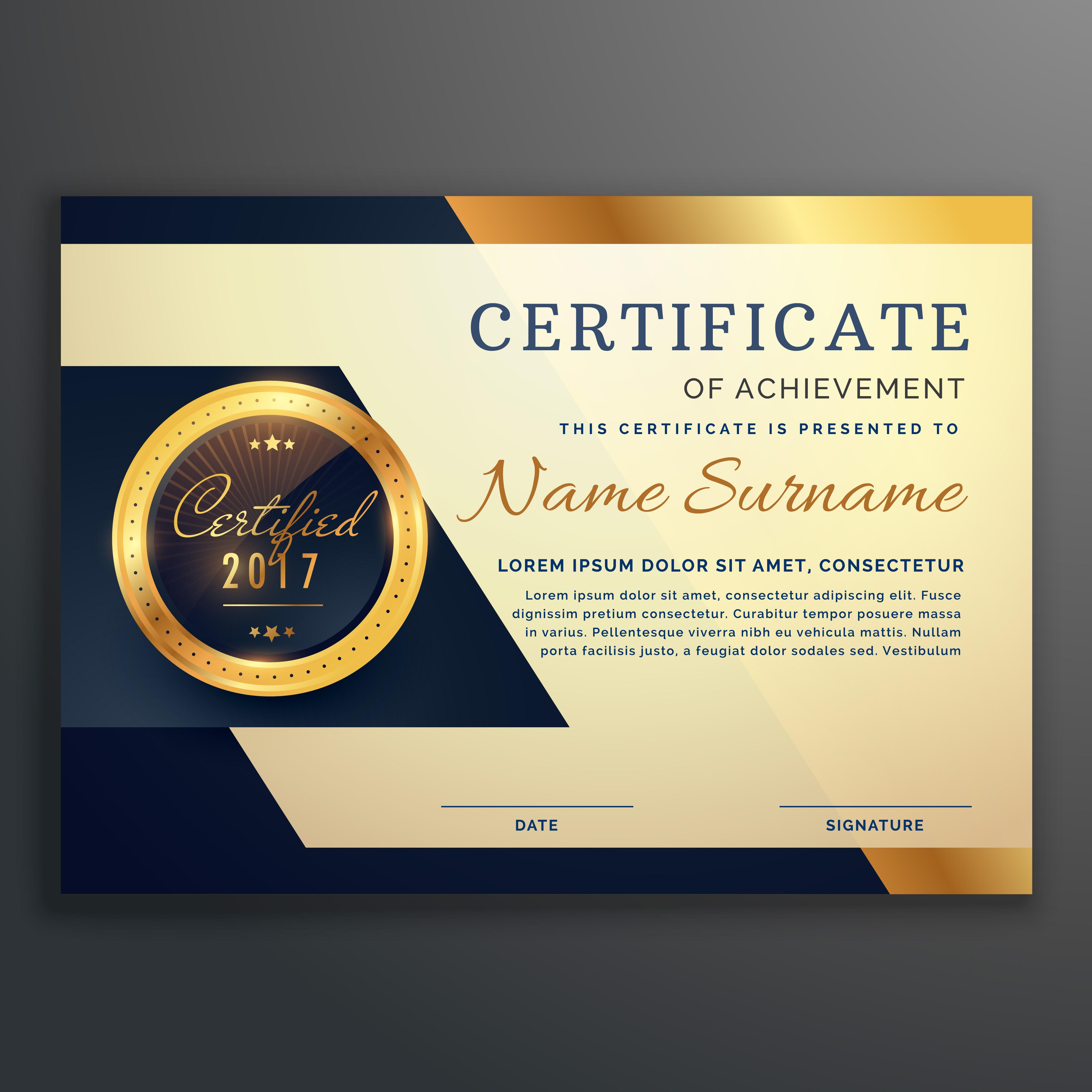 premium luxury certificate of achievement vector design ...