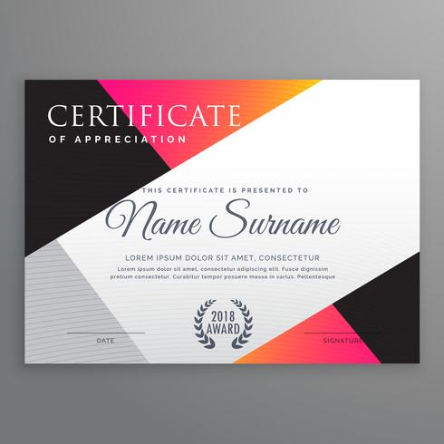 stylish certificate design template with minimal poly shapes