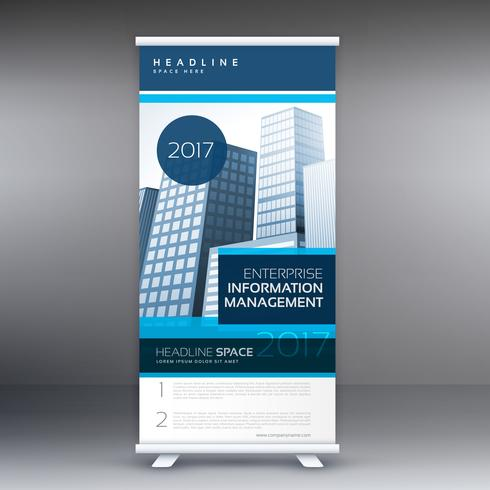 blue roll up standee design with details for business presentati