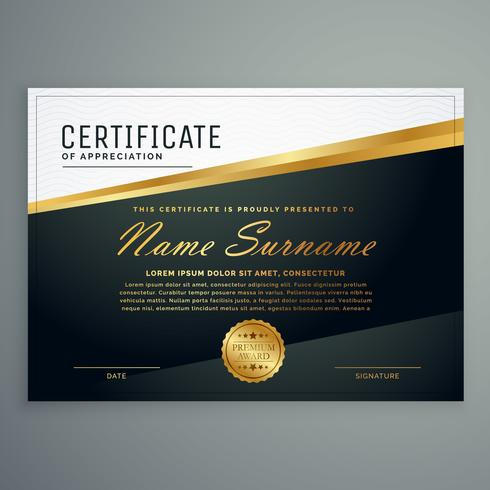 premium certificate design with golden stripe