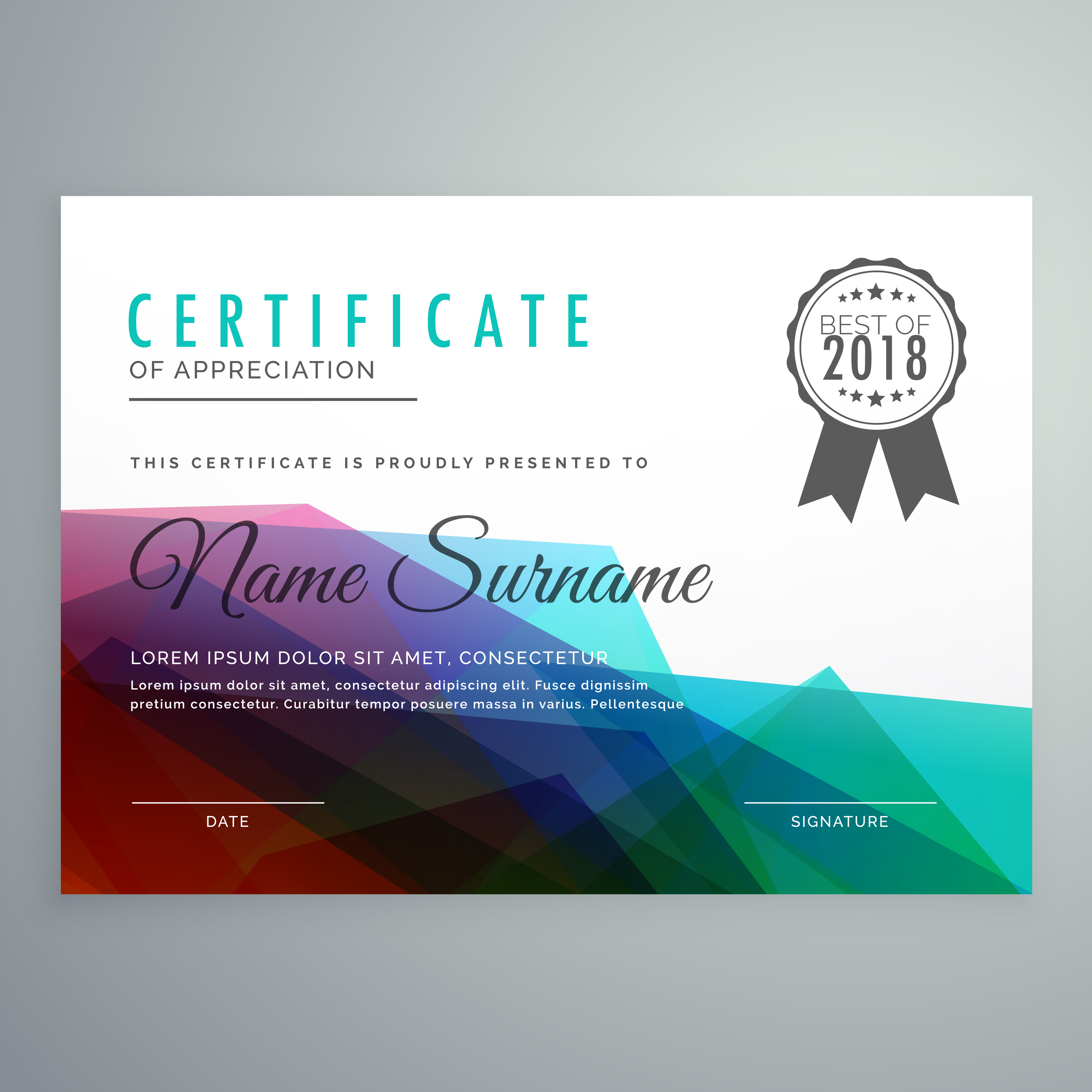 abstract colorful certificate award diploma template
