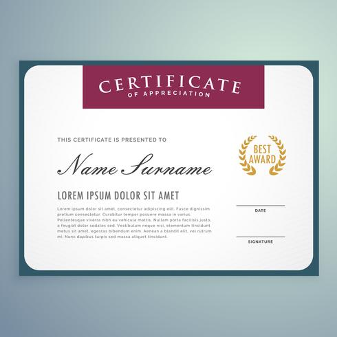 clean vector certificate template design