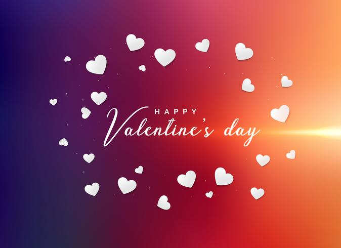Fondo de saludo de día de San Valentín vibrante con blanco disperso