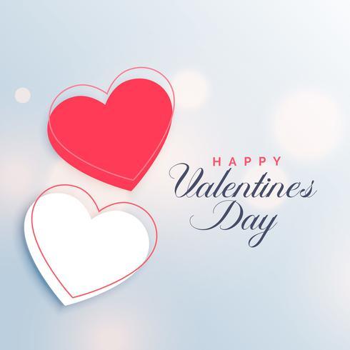 Valentinstaghintergrund der roten und weißen zwei Herzen