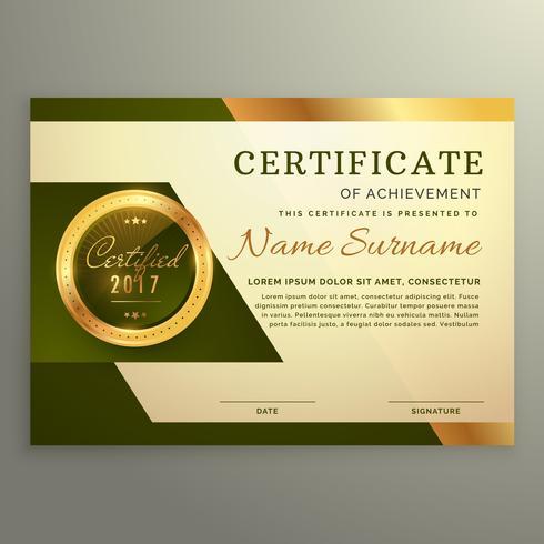 premium luxury certificate of achievement in golden style