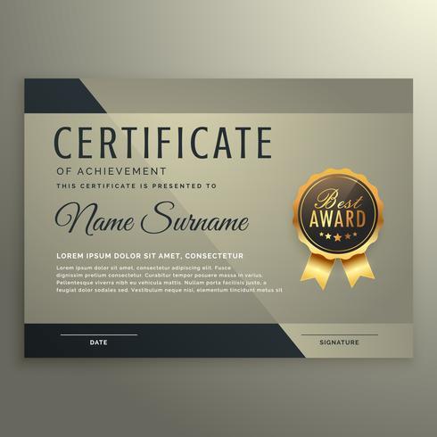 modèle de conception de certificat vip premium
