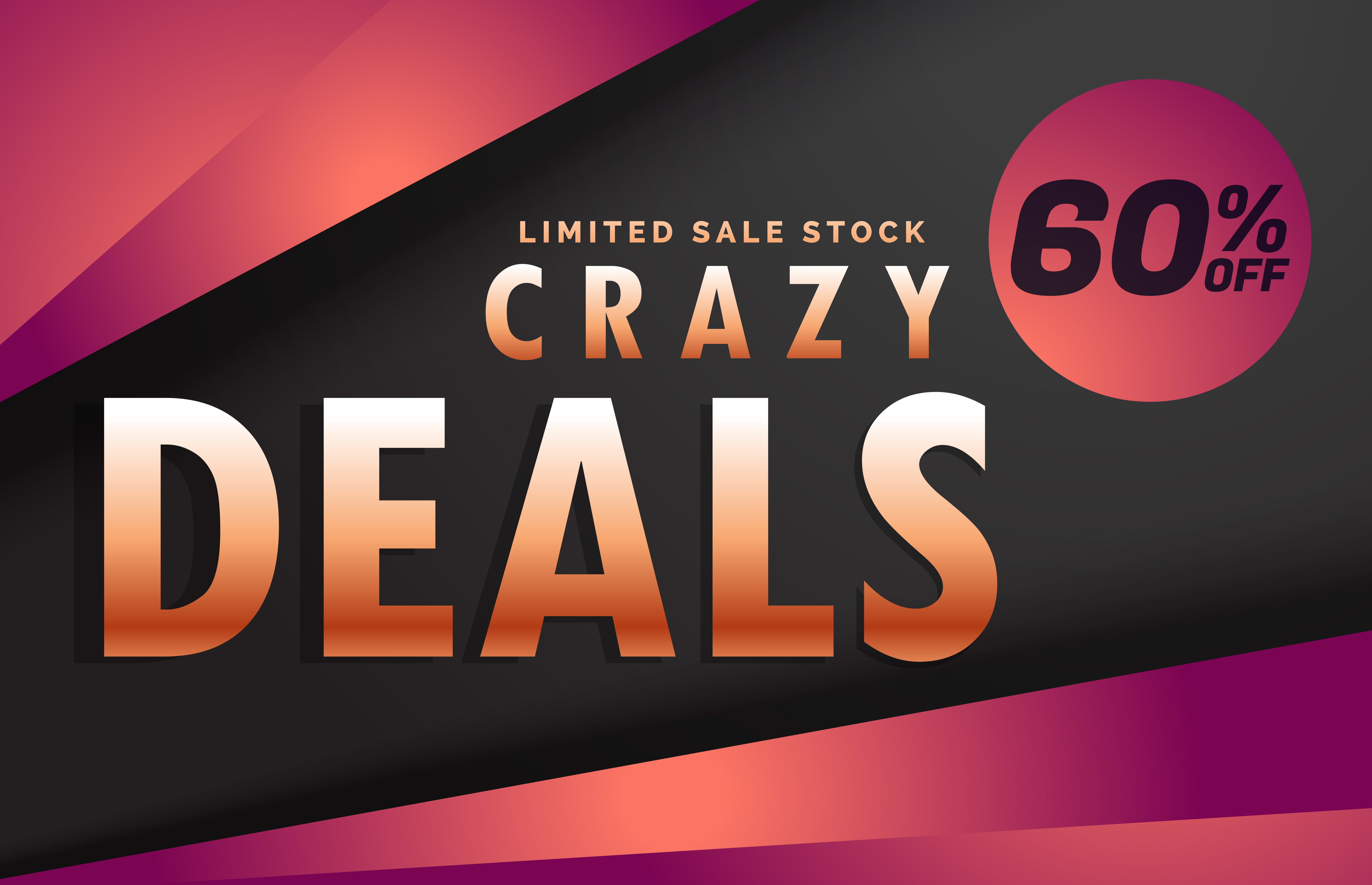 crazy deals and discount banner voucher template design ...