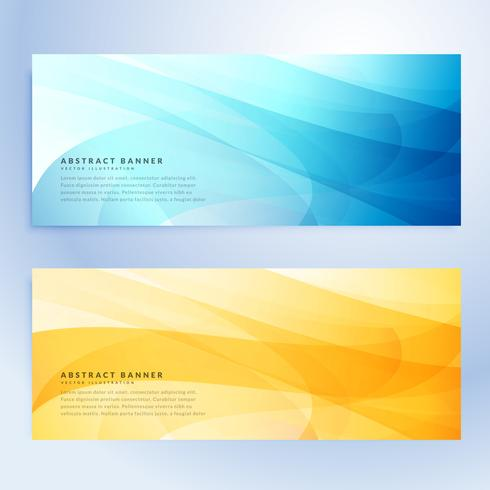 abstract banners set in blue and yellow color