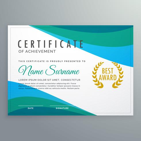 abstract blue wave certificate of achievement template design