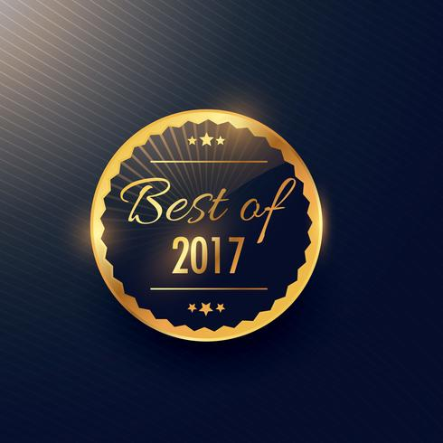 best of year label and badge design in golden color