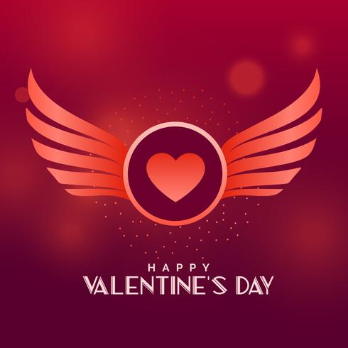 valentine's day vector design with wings and heart