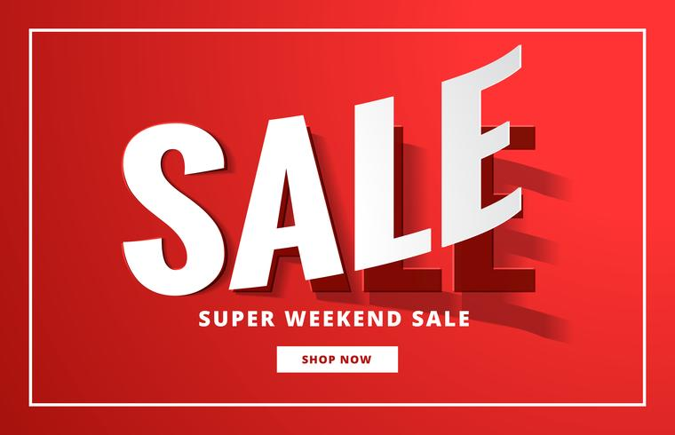 sale poster backgorund in red with sticker style