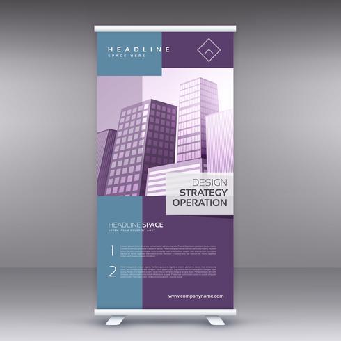 elegant pruple standee banner roll up design template