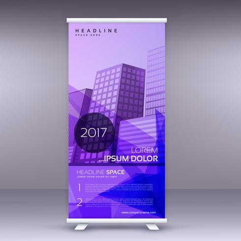 purple abstract standee roll up banner design template
