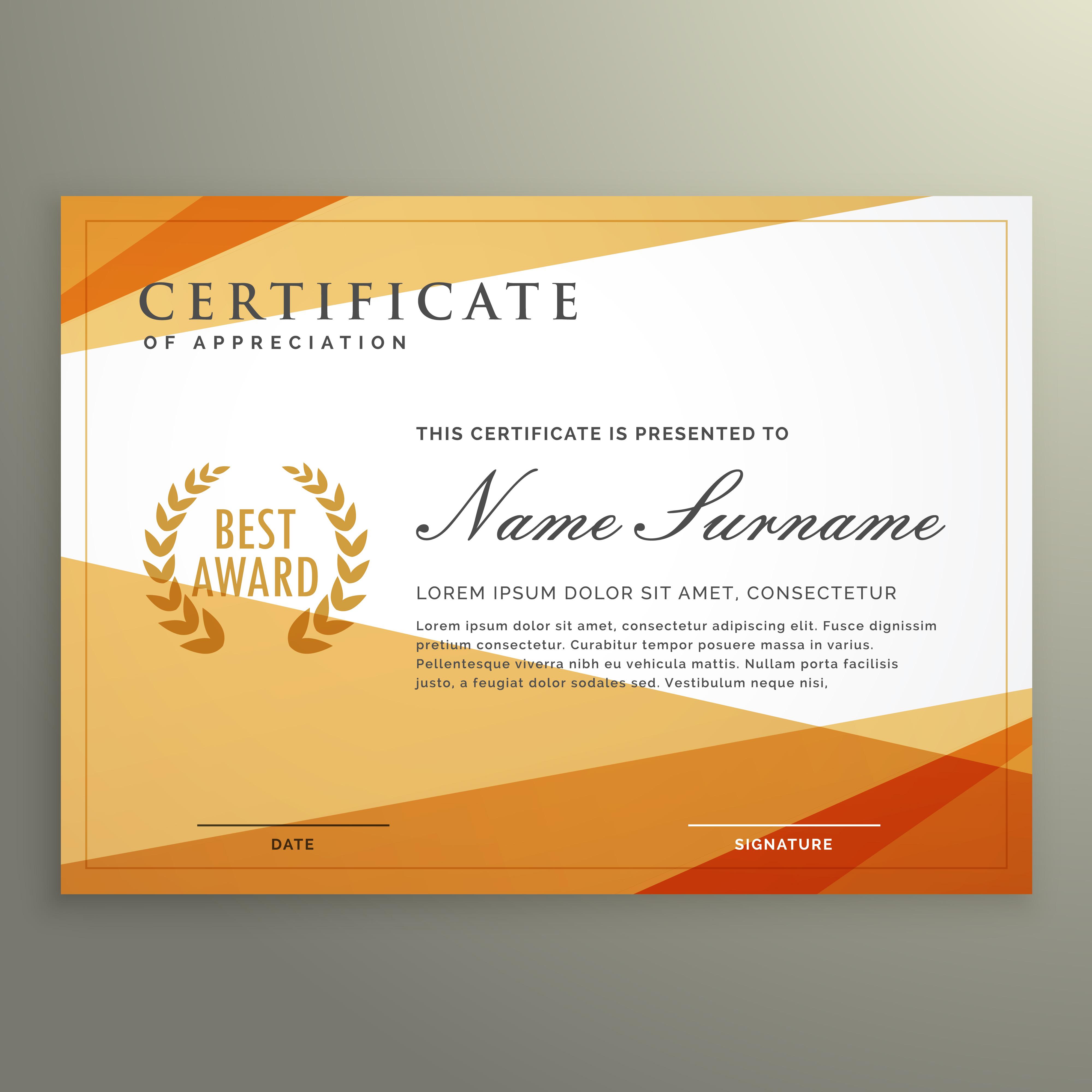 Geometric Certificate Design Template Download Free Vector Art