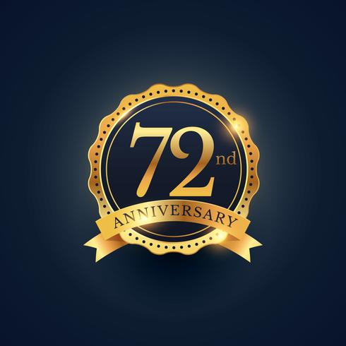 72nd anniversary celebration badge label in golden color