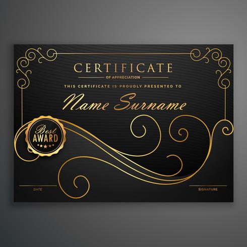 black and golden premium certificate template design