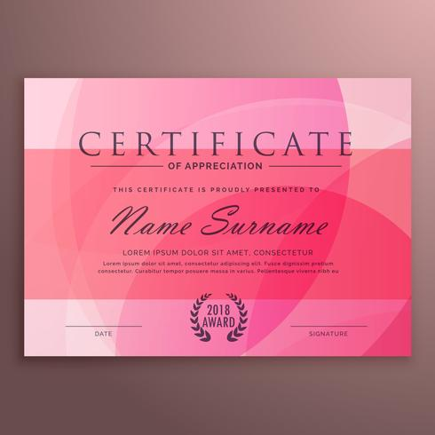 modern pink diploma certificate design with clean vector shape