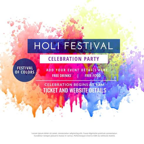 Happy Holi Party Invitation Template Flyer  Download Free Vector