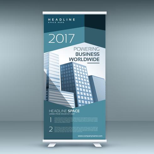 modern roll up presentation banner template with blue shapes
