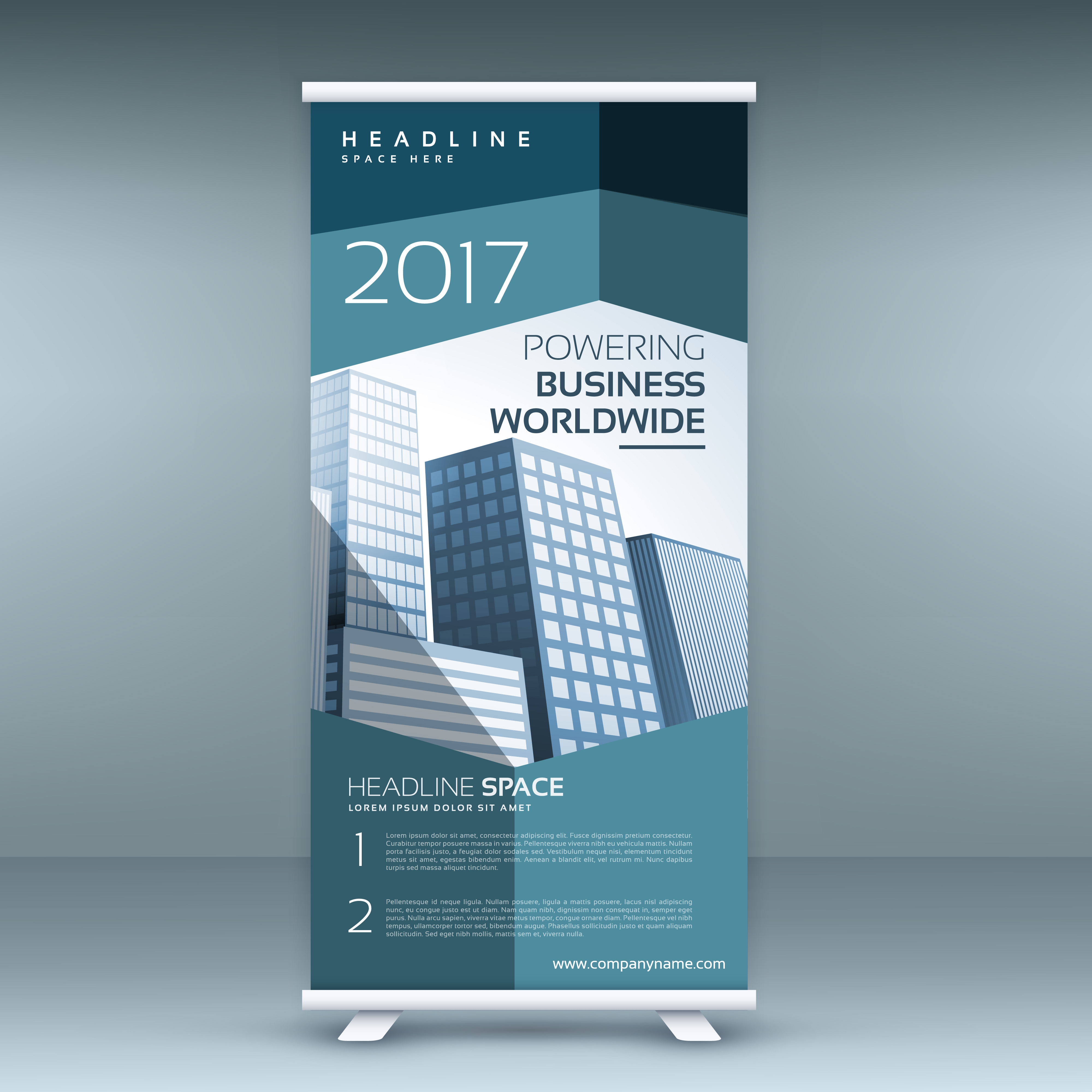 modern roll up presentation banner template with blue
