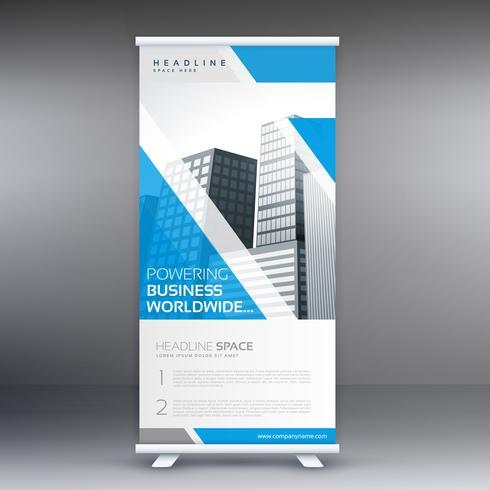 Blå rulla upp affärskortet flygblad design vertikal mall
