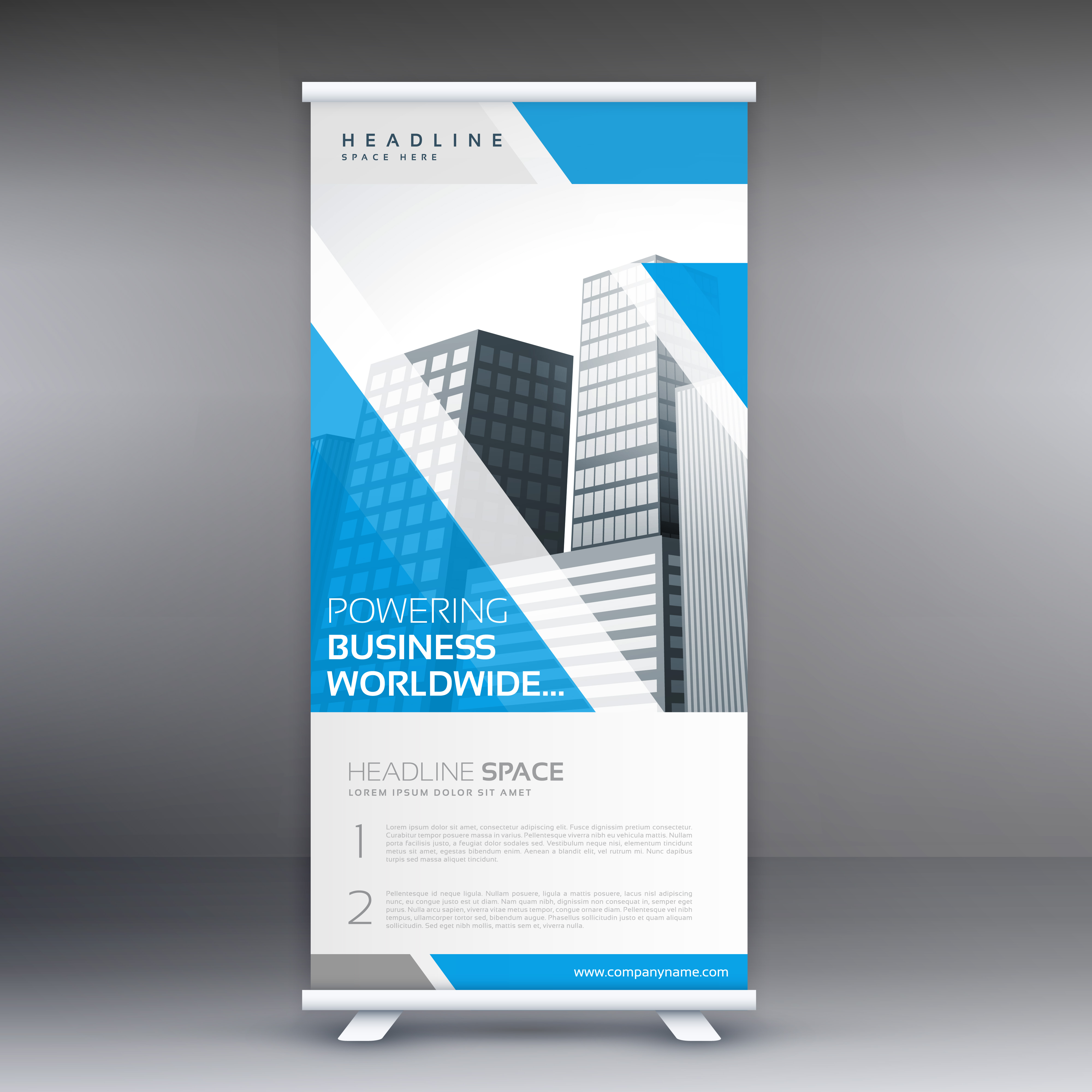 blue roll up business banner flyer design vertical. Black Bedroom Furniture Sets. Home Design Ideas