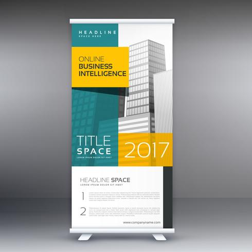 roll up banner standee display template design vector