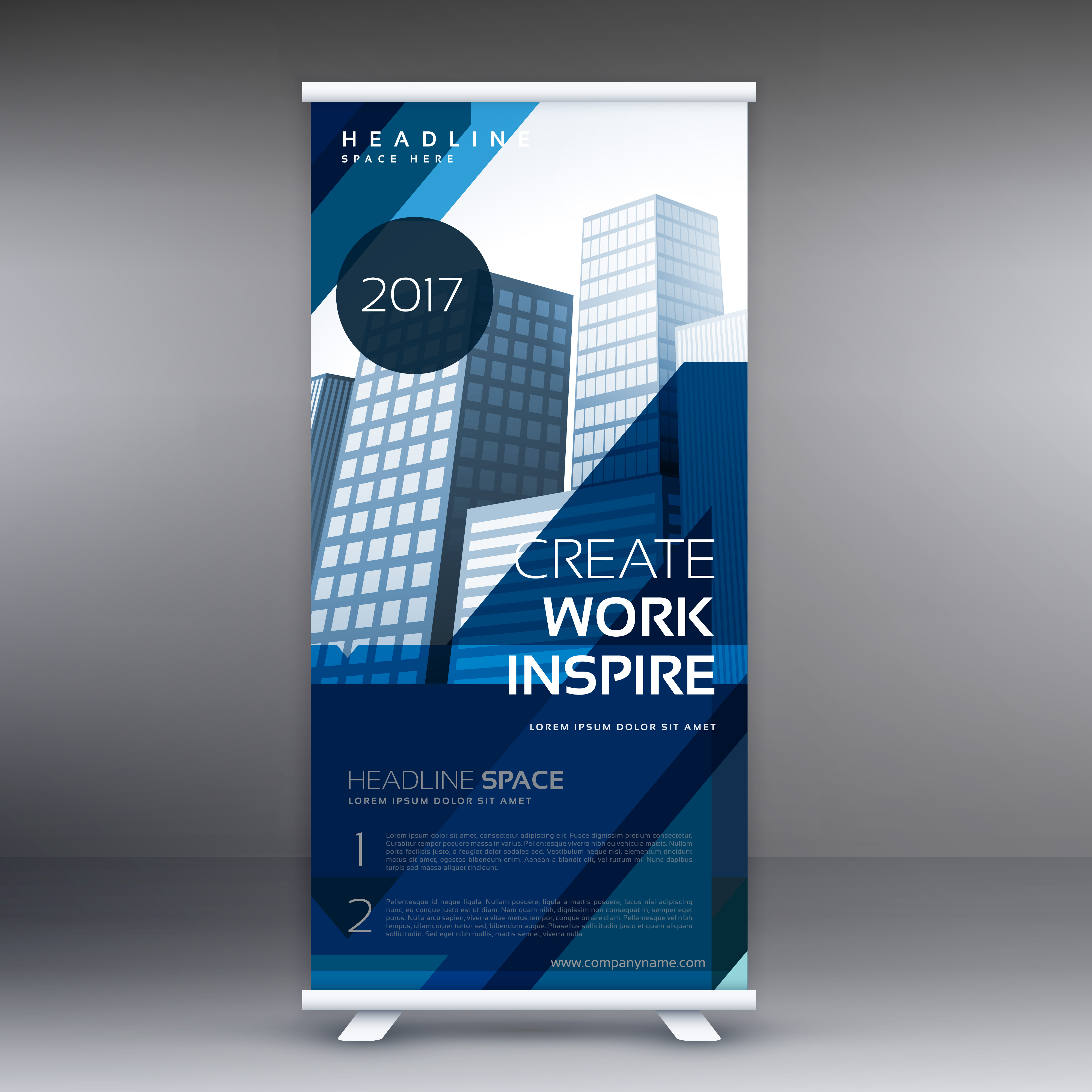 abstract blue standee vector roll up banner design