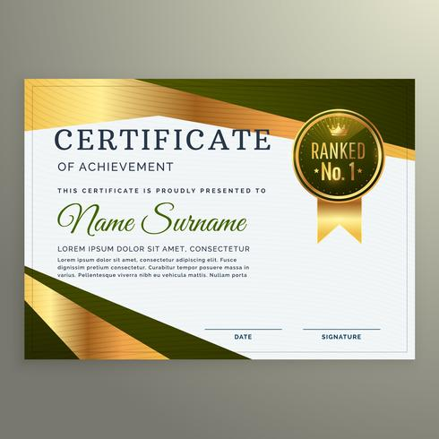 luxury certificate template design in geometric shape style