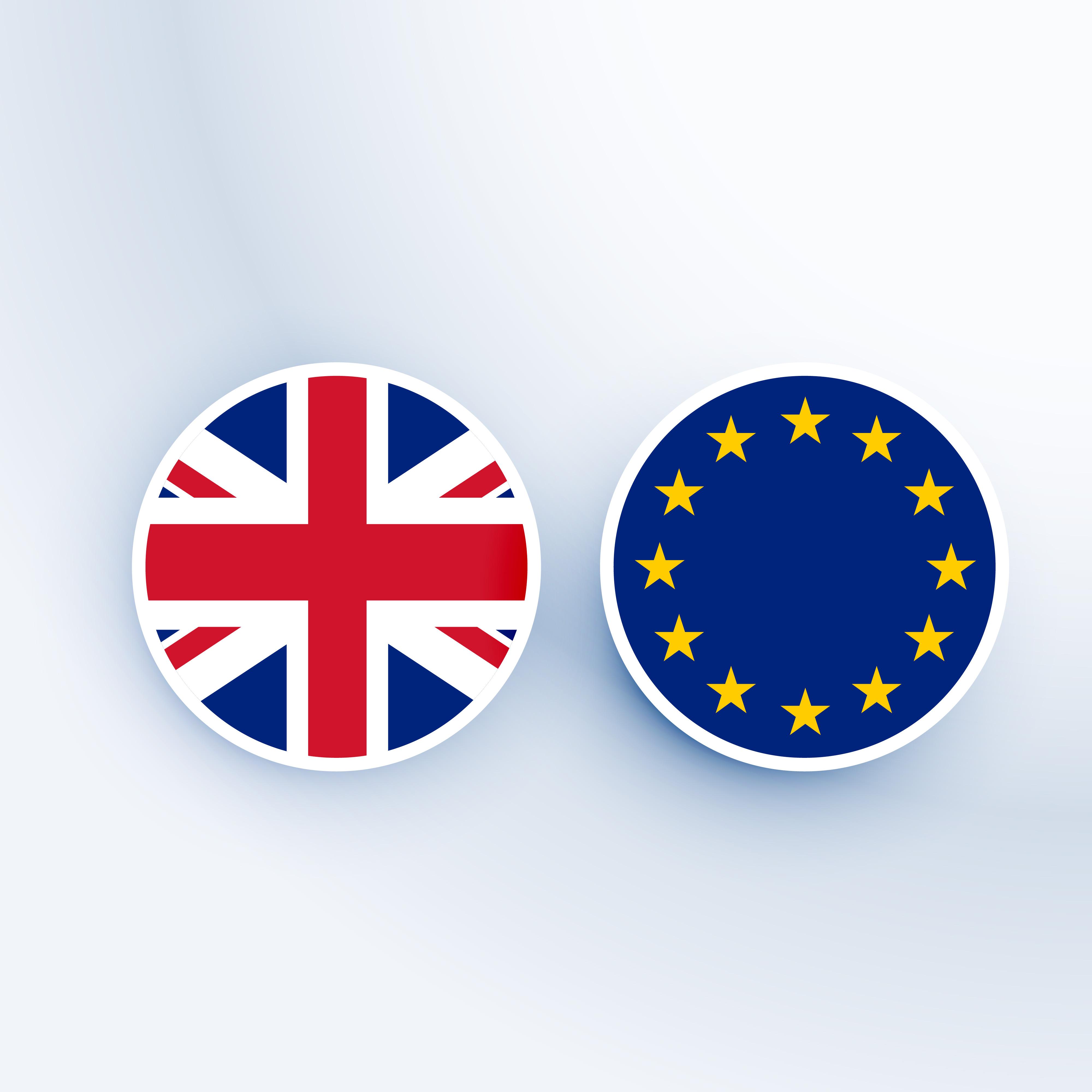 united kingdom and european union symbol and badges