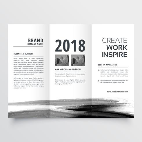 abstract watercolor stroke trifold brochure design