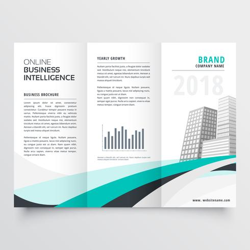 blue wavy corporate business trifold brochure design vector temp