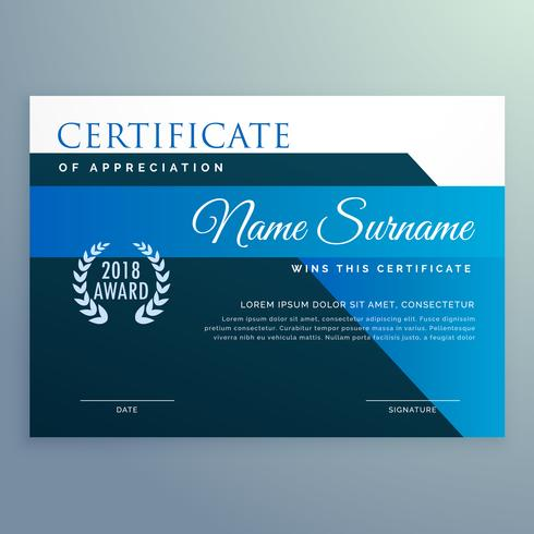 certificat bleu moderne et modèle de conception de prix