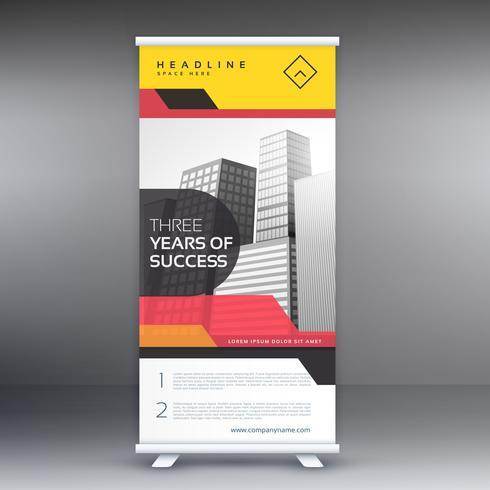 roll up banner presentation with red and yellow colors