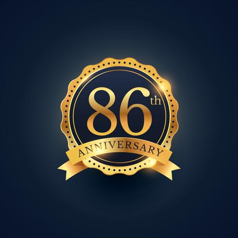 86th anniversary celebration badge label in golden color