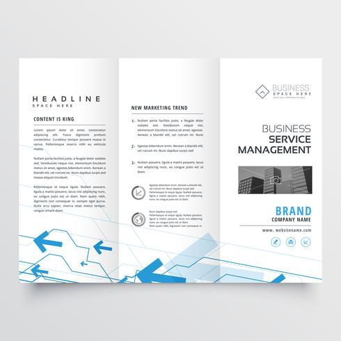 blue arrow design on trifold business brochure
