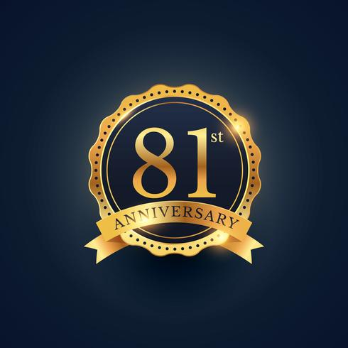 81st anniversary celebration badge label in golden color