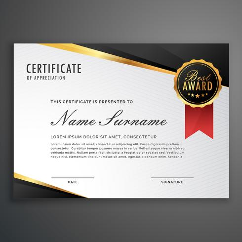 luxurious certificate design vector template