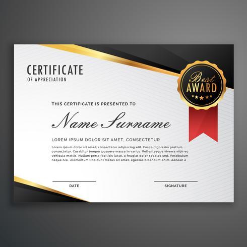luxurious certificate design vector template